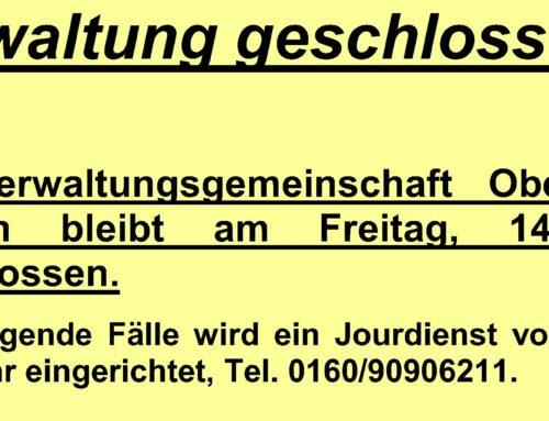 Geschäftsstelle der VGem Oberbergkirchen bleibt am 14.05.2021 geschlossen