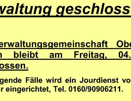 Verwaltungsgemeinschaft Oberbergkirchen bleibt am 04.06.2021 geschlossen