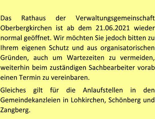 Rathaus der VG Oberbergkirchen wieder normal geöffnet
