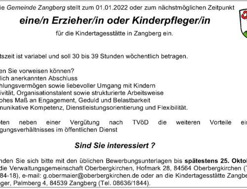Stellenausschreibung der Kindertagesstätte Herz Jesu, Zangberg